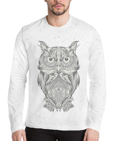 Funky owl men's printed full sleeves henley
