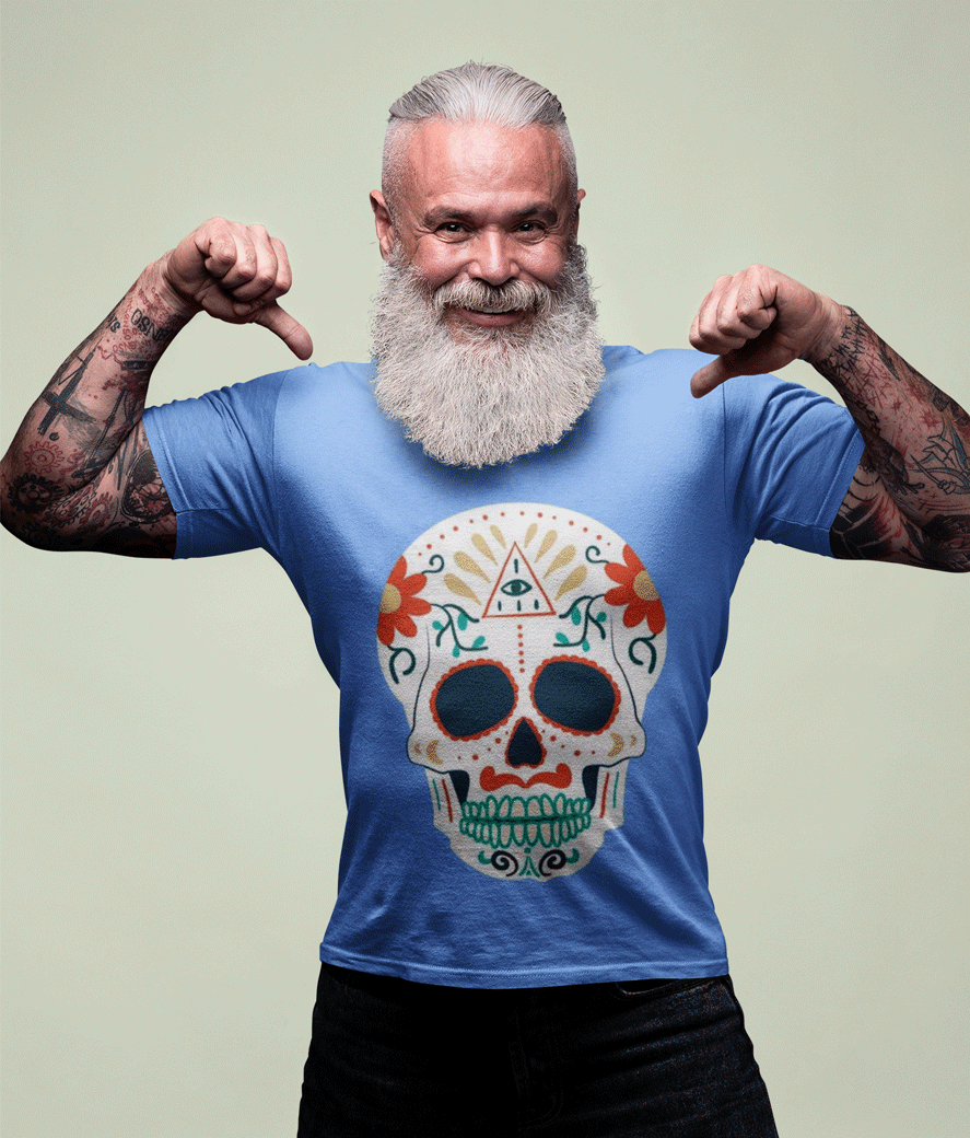 Mockup of an edgy bearded senior showing off his t shirt 23379