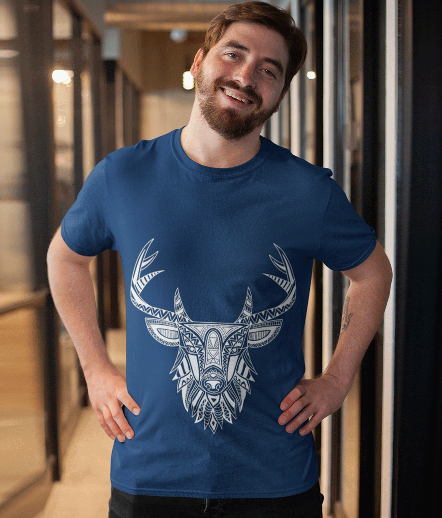 T shirt mockup featuring a happy customer in an elegant corridor 26185