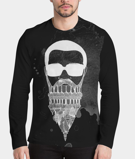 In my beard black men's printed henley