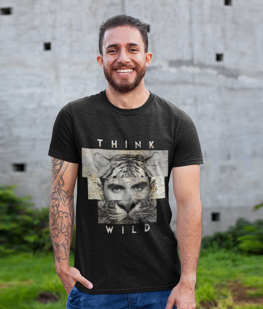 T shirt mockup featuring a smiling man with a tattooed arm 28619