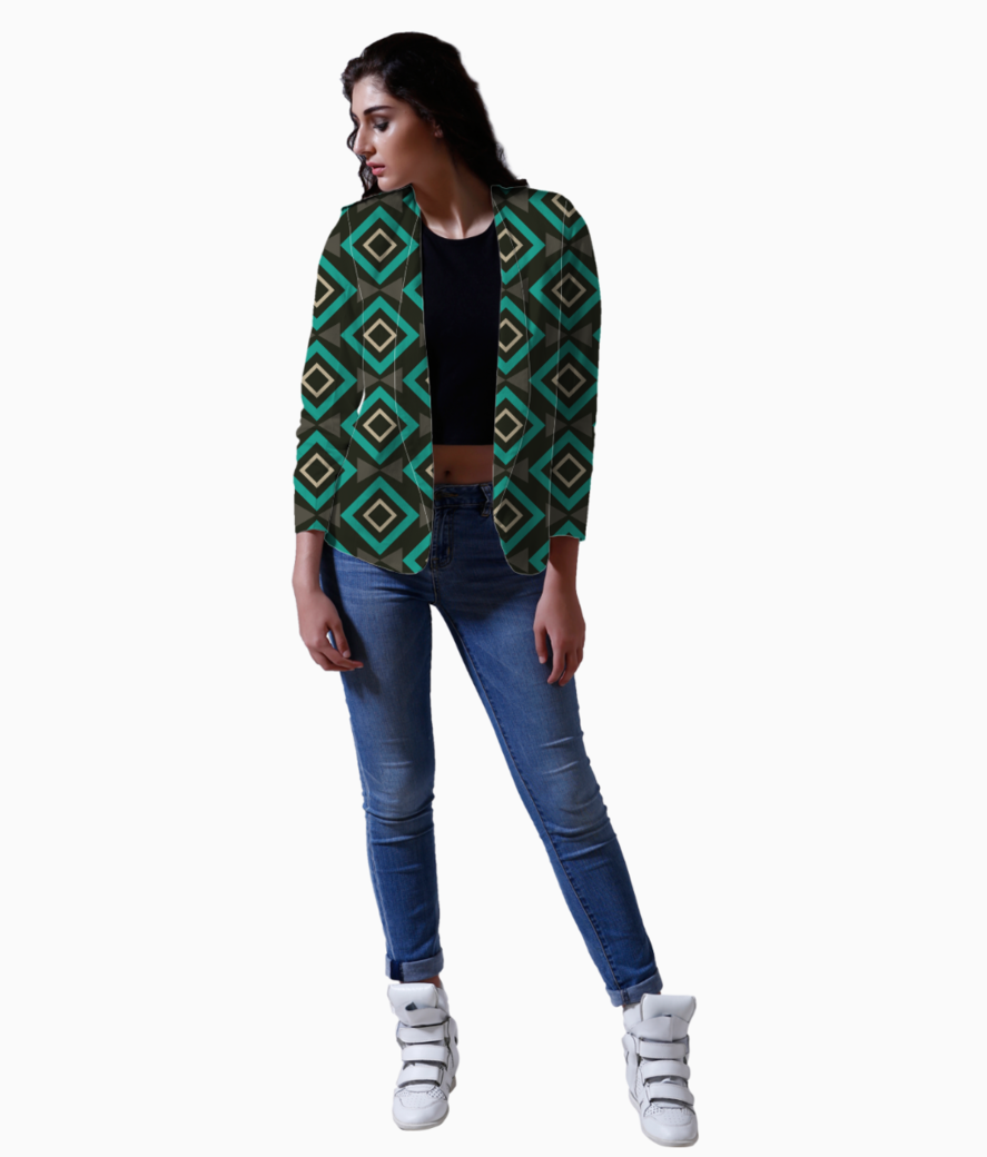 Rectangle and triangle pattern blazer front