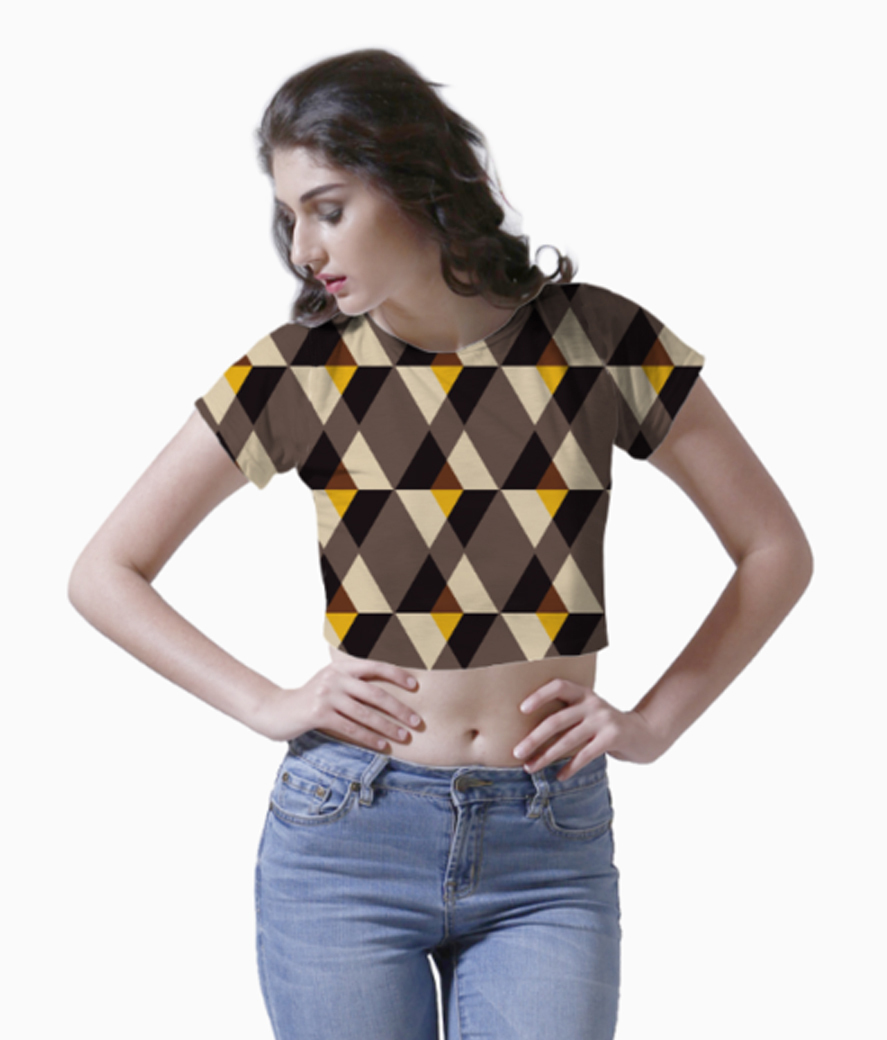 Brown with yellow tile background crop top front