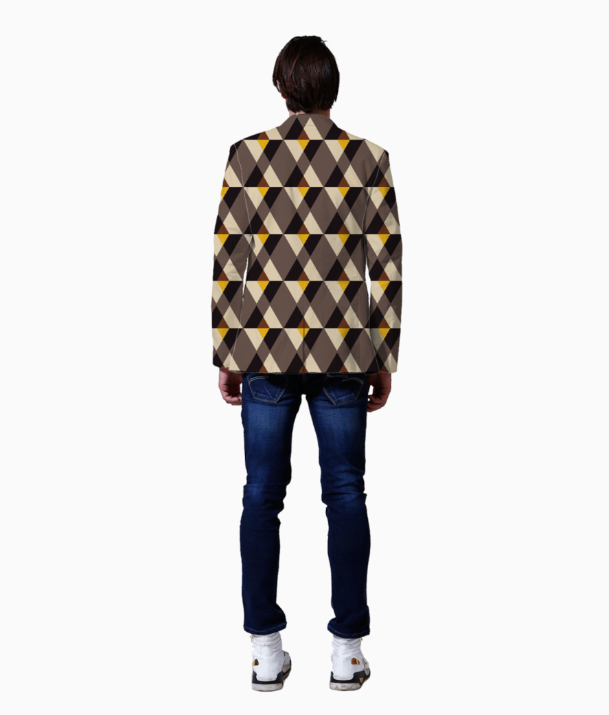 Brown with yellow tile background blazer back