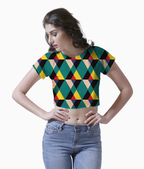 Multicolored triangle tile pattern crop top front