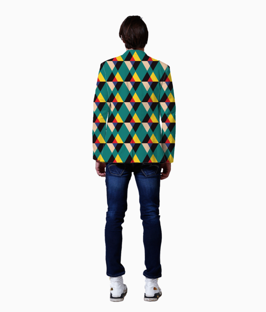 Multicolored triangle tile pattern blazer back