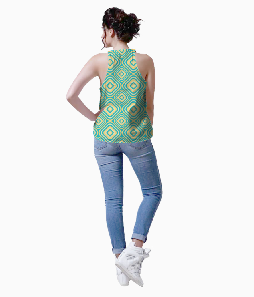 Retro rounded rectangle pattern tank back