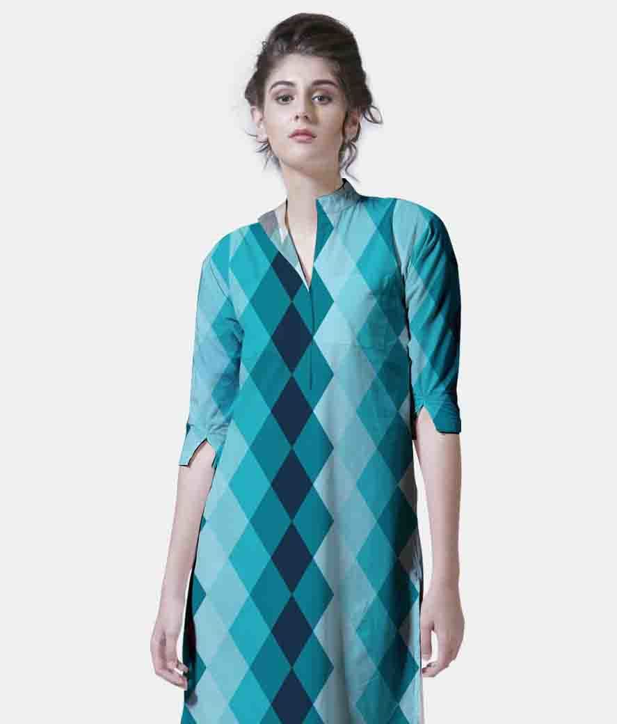 Blue ceramic tile women's printed kurta