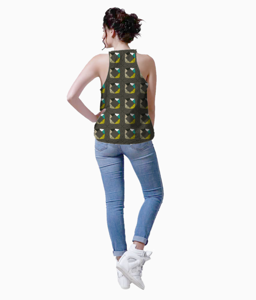 Flowers with geometric shapes tank back