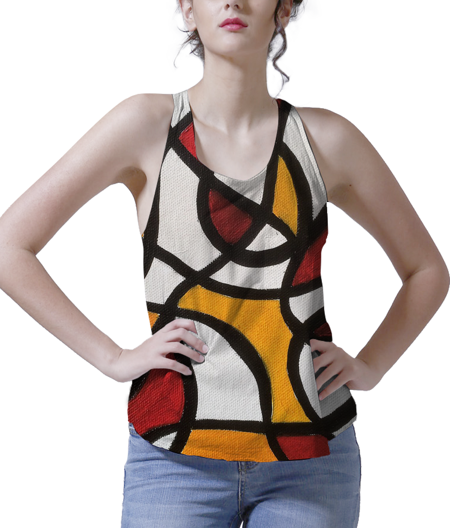 Ombre effect women's printed tank