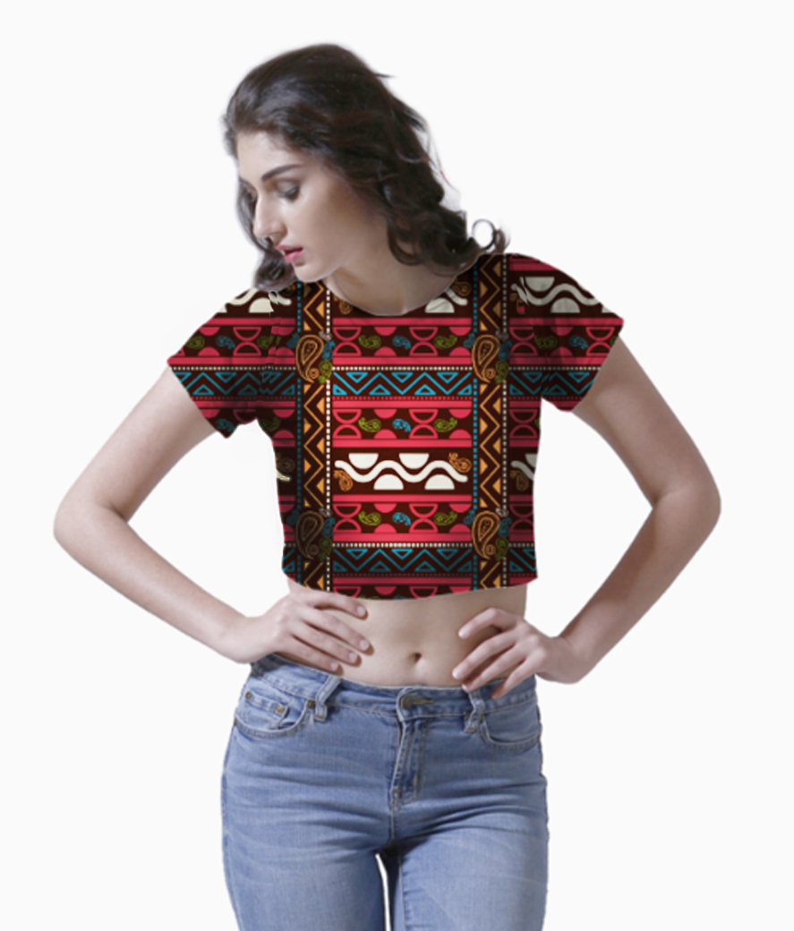 Tribal ethnic modern aztec pattern crop top front