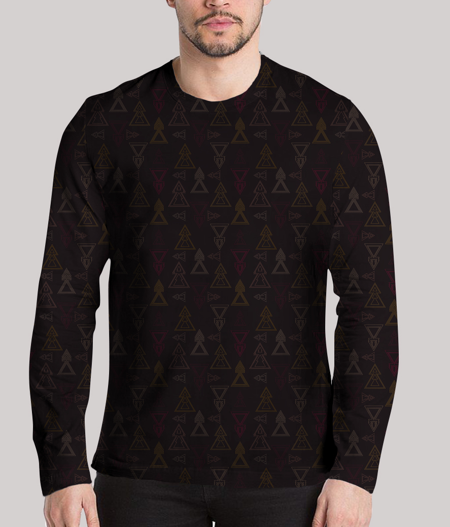 Seamless geometric triangle arrows men's printed henley