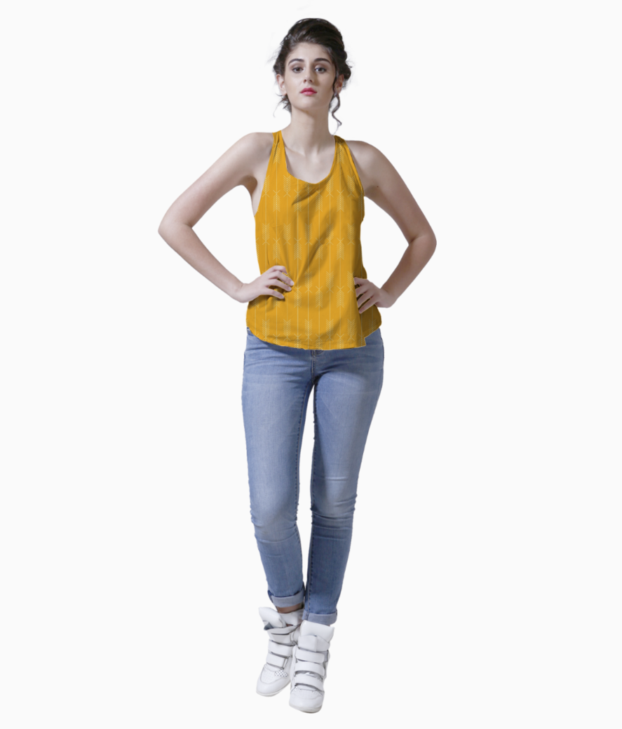 Yellow arrows fabric tank front