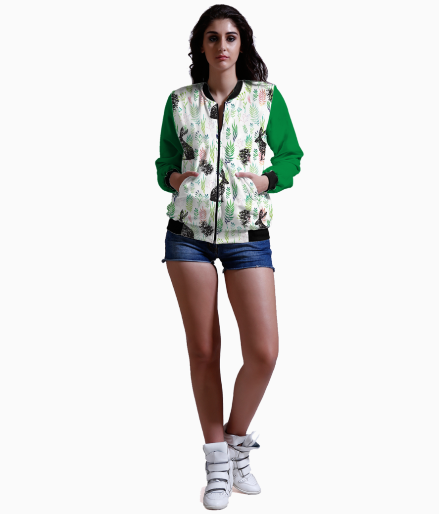 Bunnies and pinecones bomber front