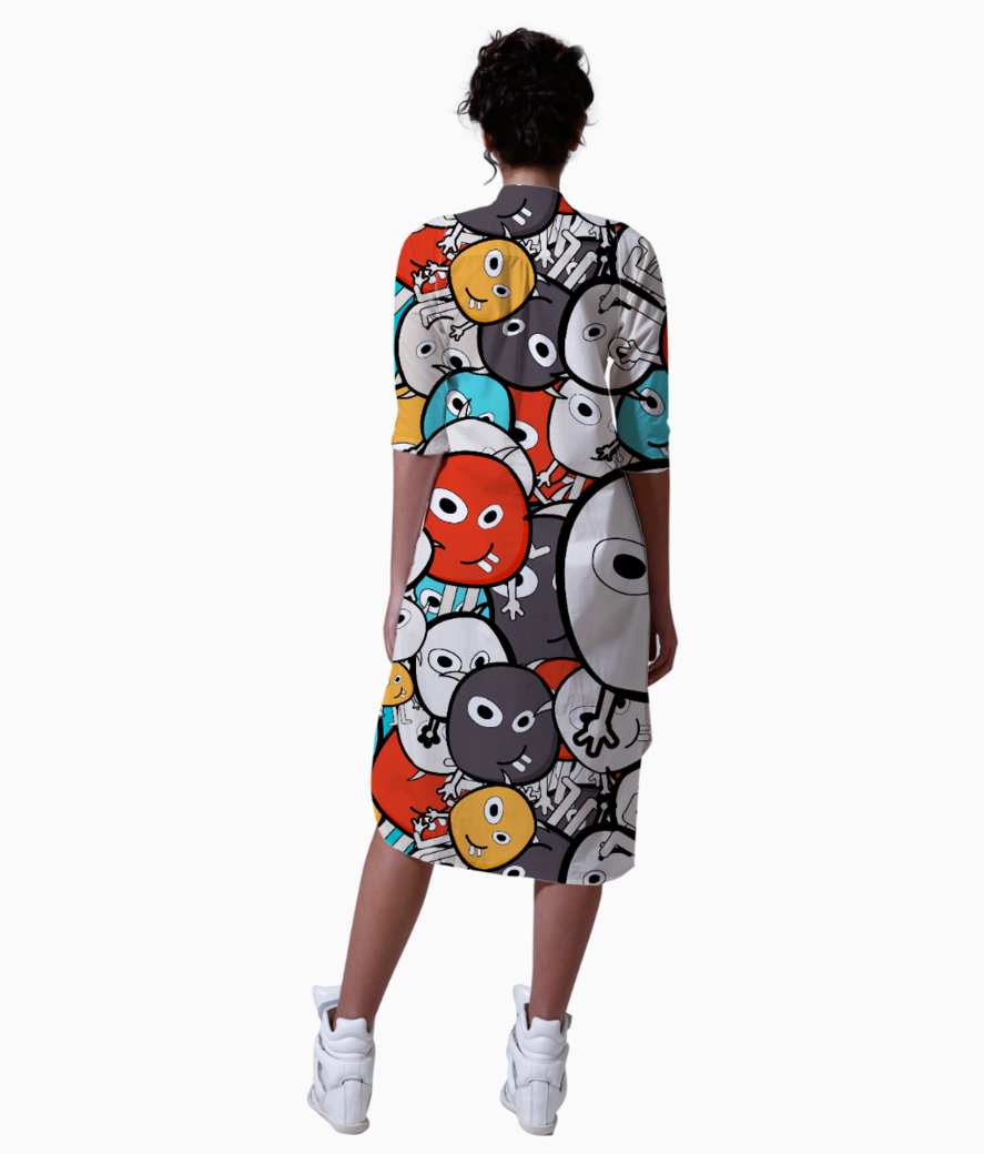 Colorful monster faces kurta back