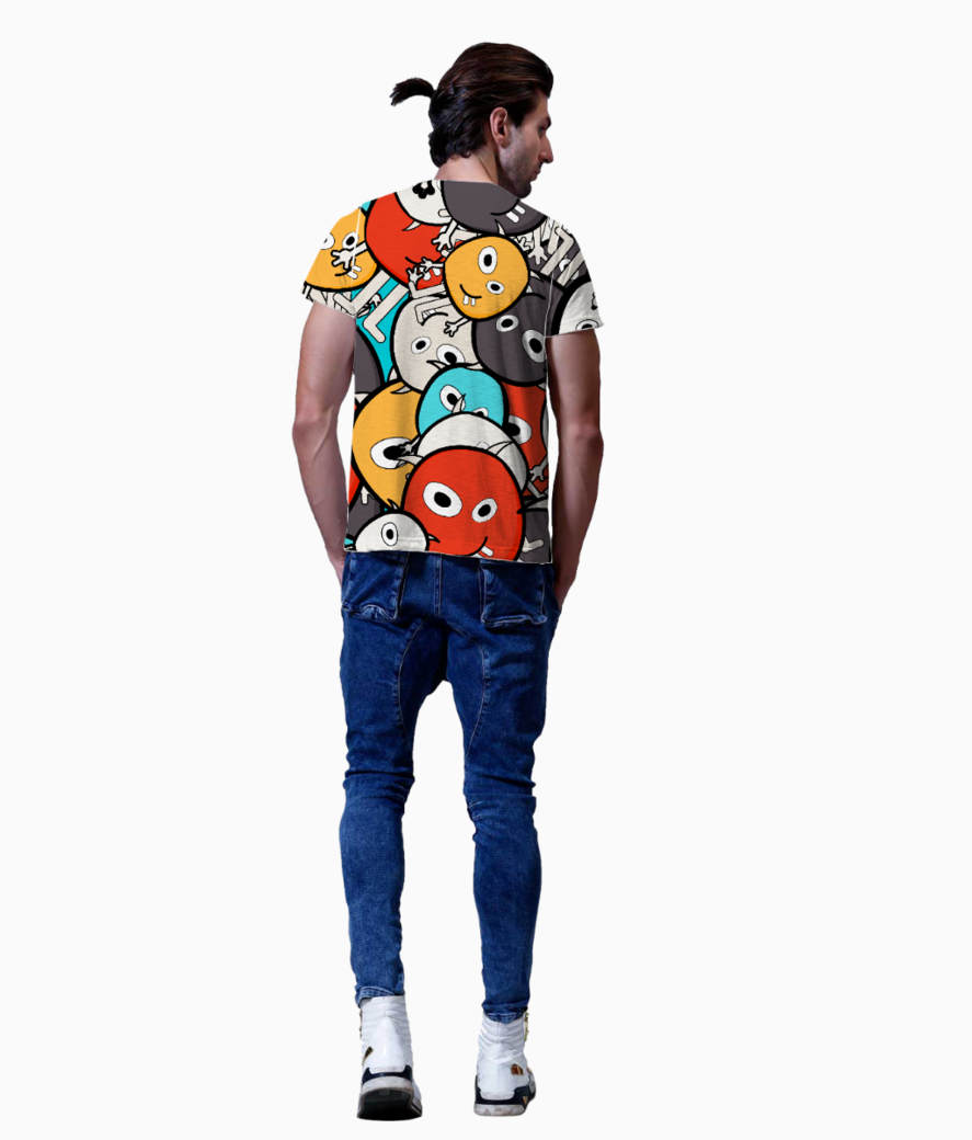 Colorful monster faces t shirt back