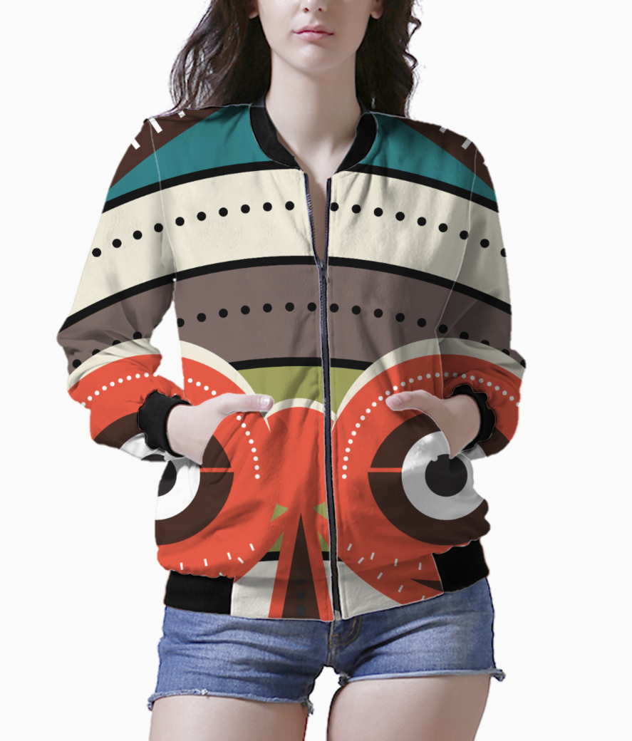 African authentic tribal art women's bomber front