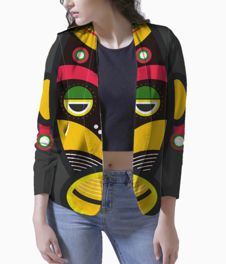 African traditional tribal mask women's blazer front