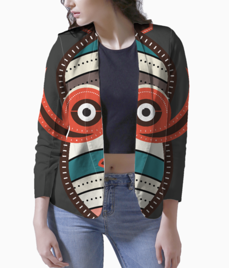 African authentic tribal mask 1 women's blazer front