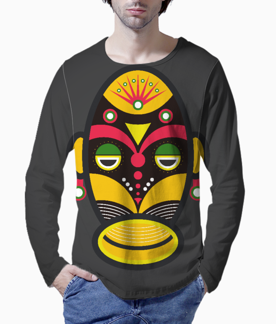 African traditional tribal mask henley front