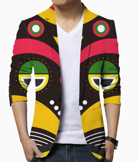 African traditional tribal mask men's blazer front