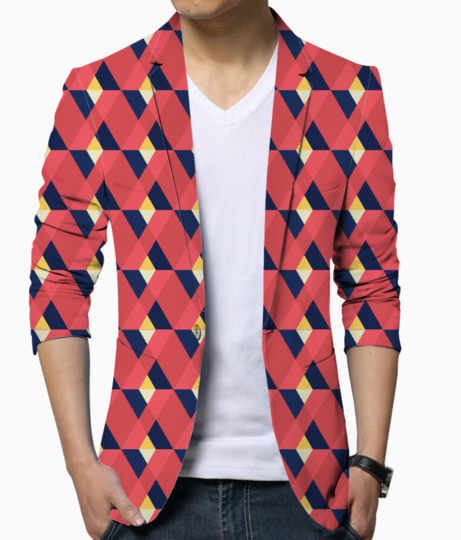 Red triangle tile ceramic men's blazer front