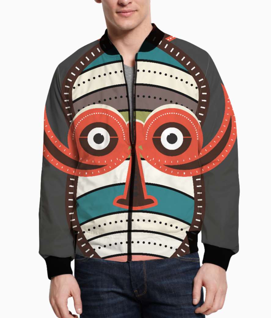 African authentic tribal mask 1 men's bomber front