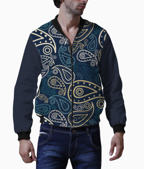 Paisley illustration men's bomber front