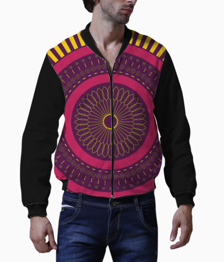 Red zen mandala circle men's bomber front