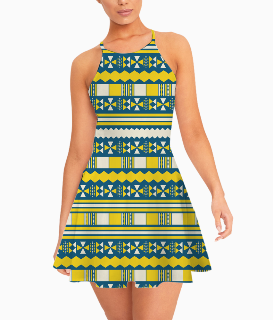Blue with yellow aztec summer dress front