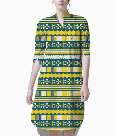 Blue with yellow aztec kurta front