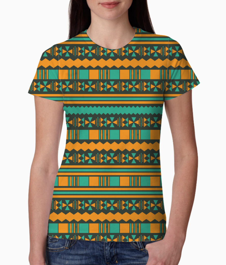 Green and yellow aztec tribal tee front