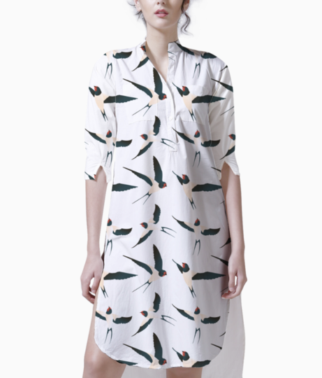 Bird pattern kurta front