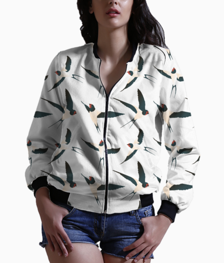 Bird pattern women's bomber front