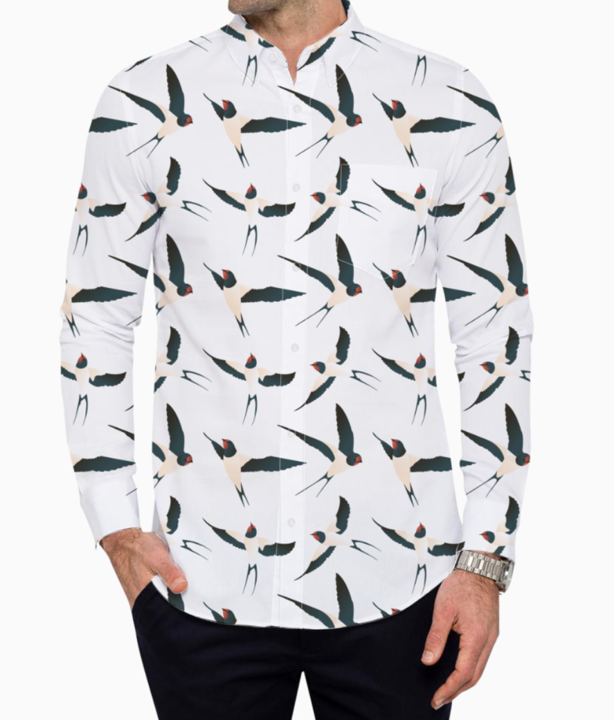 Bird pattern basic shirt front