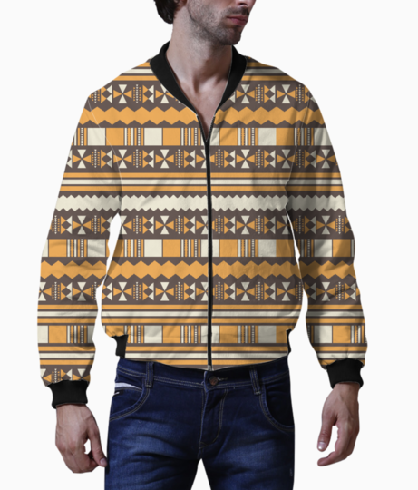 Brown aztec tribal men's bomber front