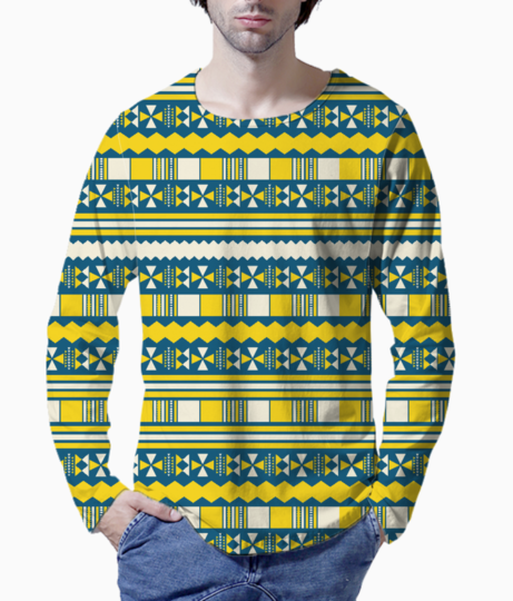 Blue with yellow aztec henley front