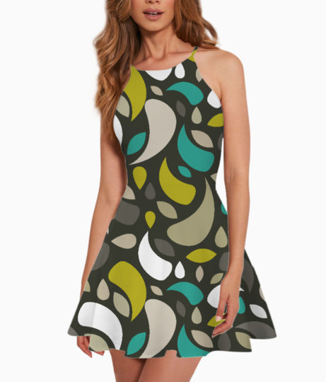 Leaves and geometric shapes summer dress front
