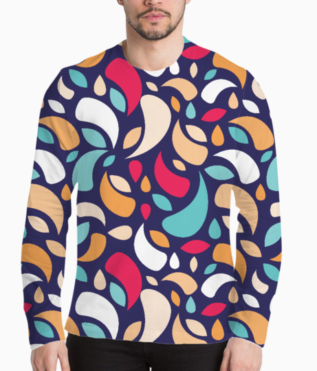 Multicolor leaves and geometric shapes henley front