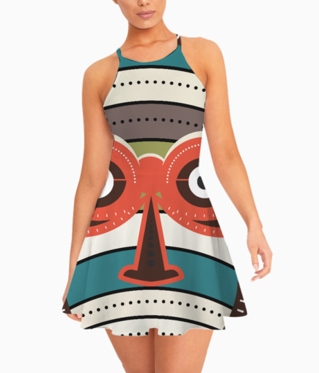 African authentic tribal art summer dress front