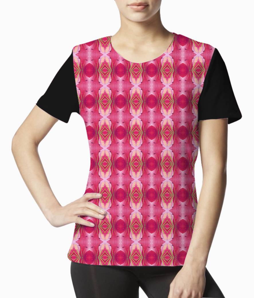 Pink blast floral tee front