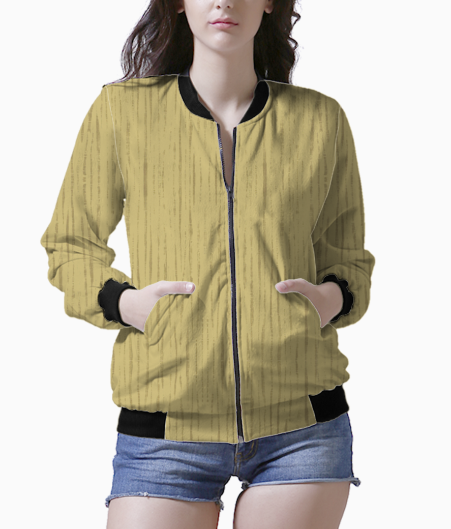 Dark golden wall women's bomber front