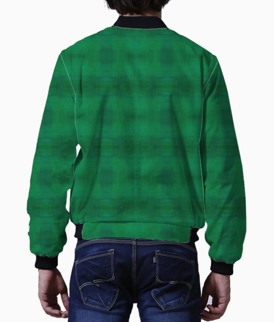 Warm green men's bomber back