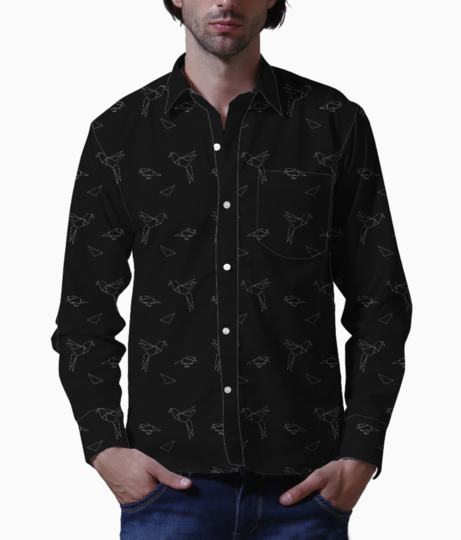 Origami bird black basic shirt front