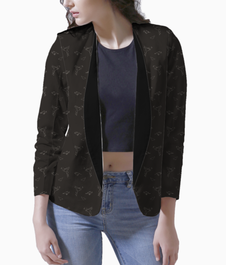 Origami bird black women's blazer front