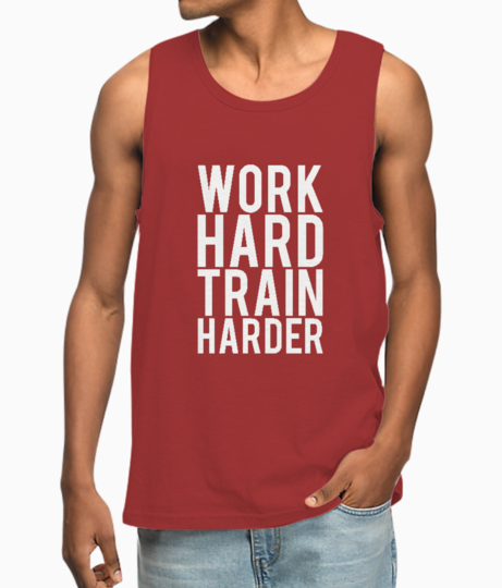 Work hard train harder typography vest front