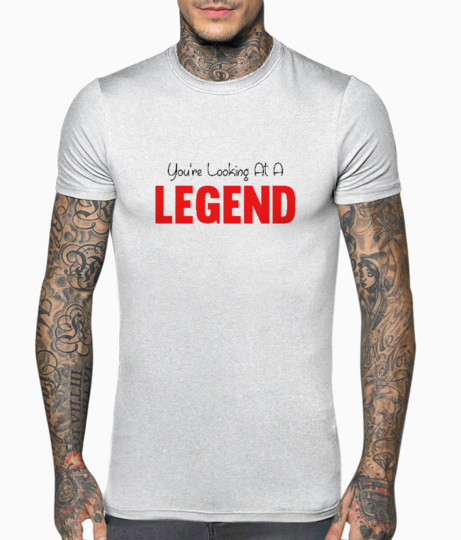 Red legend typography t shirt front