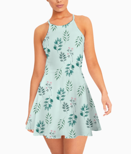 Pestal spring leaves summer dress front