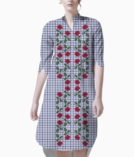 Vintage red rose kurta front