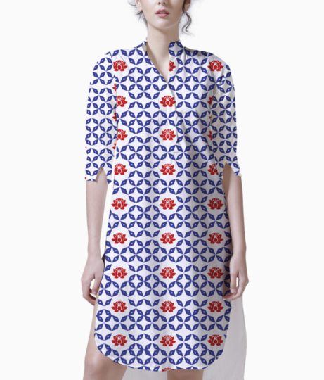 Geometric shape and floral kurta front